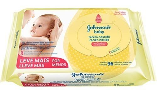 Kit Lenços Umedecidos Johnsons Baby Recém-nascido Sem Fragrância 12x 96un