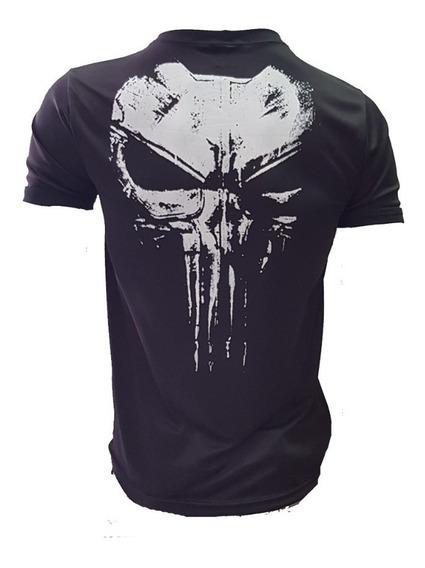 Camiseta Justiceiro Punisher Em Dry Fit Com Nota