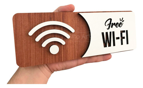 Imagem 1 de 3 de Placa De Wi-fi Wifi Indicativa Sinalização Mdf Especial