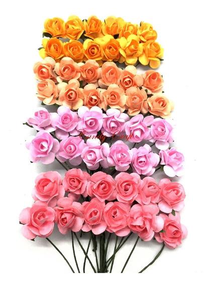 Flores De Papel Mini Con Cabo X 288 Florcitas