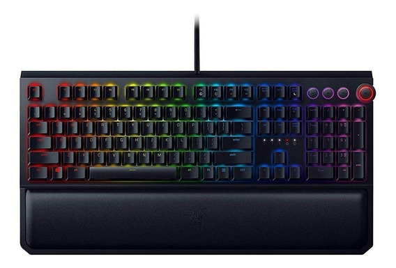 Teclado para pc QWERTY Razer BlackWidow BlackWidow Elite Razer Green inglês US preto com luz RGB
