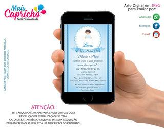 Convite Batizado Menino - Arte Digital Para Whatsapp