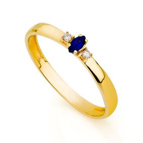 Anel De Formatura De Ouro 18k Safira Com Diamantes An33787 A