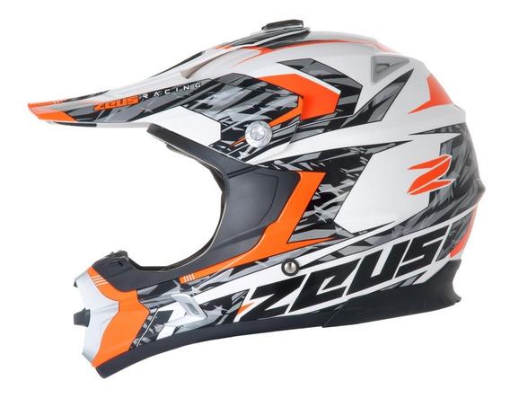 Capacete Zeus 951 Rr12 Branco/laranja