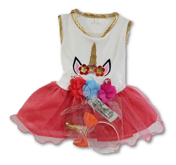 Vestido Unicornio C Tutú Y Diadema Talla 1 A 3 Disfraz