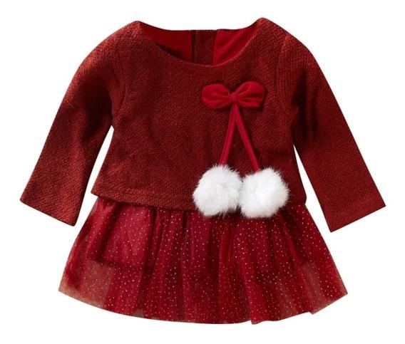 Blusón Para Niña, Niñas Bebé Color Vino Con Pompones Y Tutu
