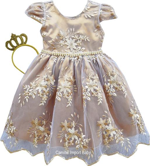 Vestido Festa Infantil Dourado Realeza Dama Princesa Coroa