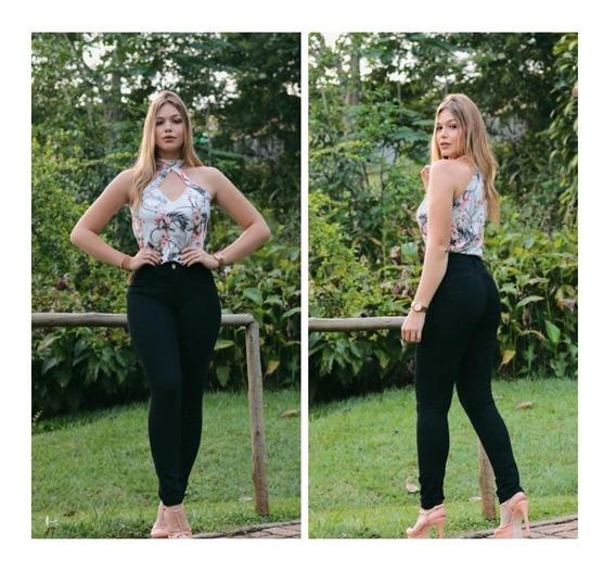 Calça Jeans Cintura Alta Feminina Levanta Bumbum Hot Pants