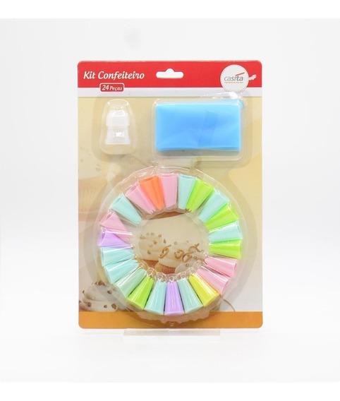 Kit Decorador De Bolos Saco E Bicos Kit Com 24 Peças