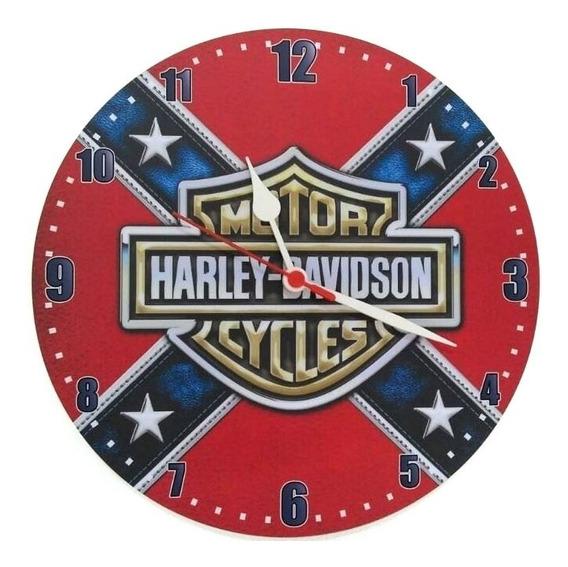 Relógio De Parede Harley Davidson Moto Vermelho 30cm