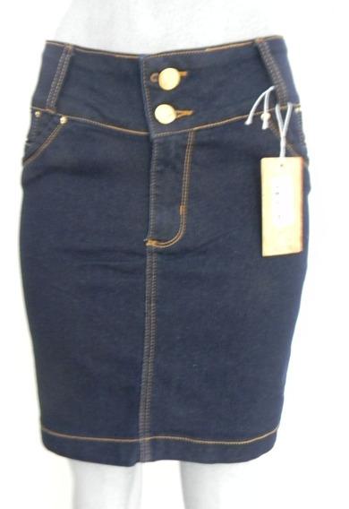 Saia Secretária Jeans Com Elastano Com Detalhe No Bolso