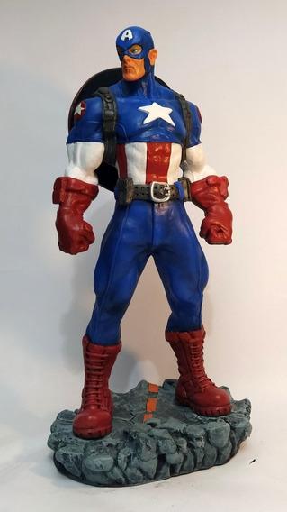 Capitão América Escultura Em Resina 40cm