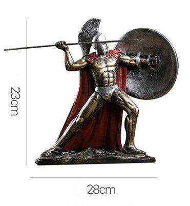 Estátua Em Resina Guerreiro Espartano 23 X 28cm