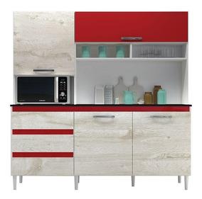 Armário Cozinha Kit Florença Branco Aspen Vermelho Incorplac