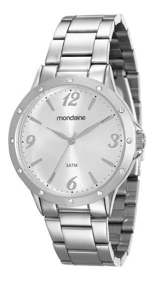 Relógio Mondaine Feminino Prata 83315l0mvne1 C/ Strass E Nfe