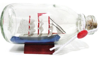 Mini Barco Dentro De Botella Horizontal Pequeña Decorativo