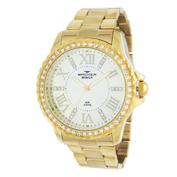 Relógio Feminino Backer 3928145f Munich Dourado Garantia 12m