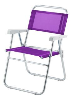Cadeira De Praia Sun Aluminio Lilás