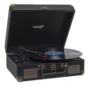 Toca Discos Sonetto Preto Gravação Bluetooth Vitrola Vintage