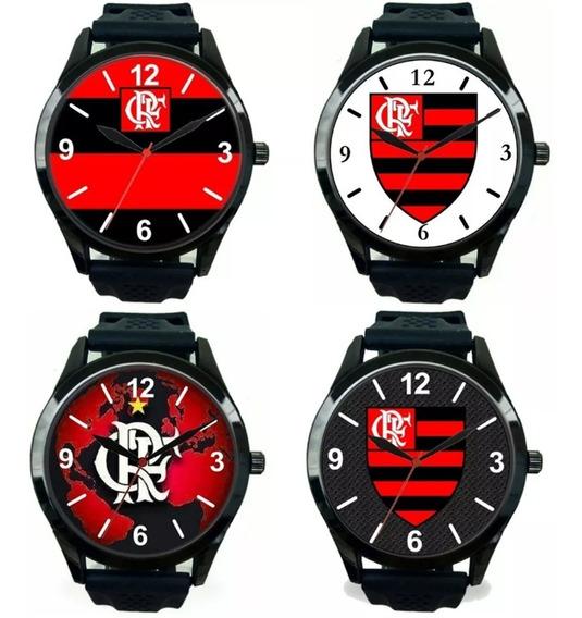 Kit 4 Relógios Pulso Torcedor Flamenguista Esportivo Barato
