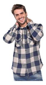 Camisa Xadrez Masculina Capuz Adulto Flanelada Ref 006