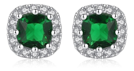 Aretes Piedras Preciosas Esmeralda Ak Jewelry Plata Oro 18k