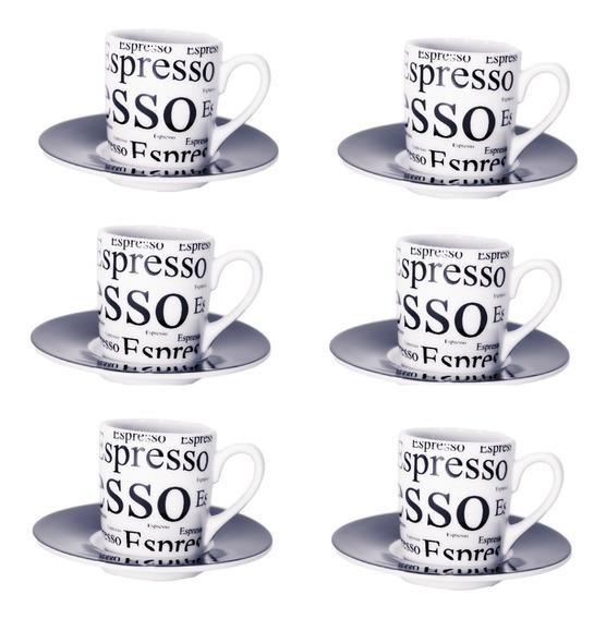 Jogo Xicaras Para Cafe E Pires Porcelana Expresso 90 Ml