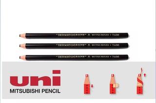 Lápis Dermatográfico Mitsubishi 7600 Preto Com 3 Unid