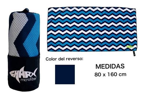 Toalla Microfibra Sharx* 80x160cm Zigzag Azul Envío Gratis