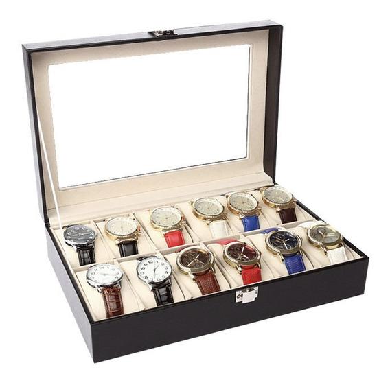 Caja Estuche Exhibidor Para 12 Relojes Joyas Piel Cristal