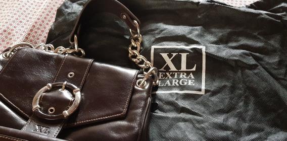 Cartera De Cuero Marrón / Marca Xl Extra Large