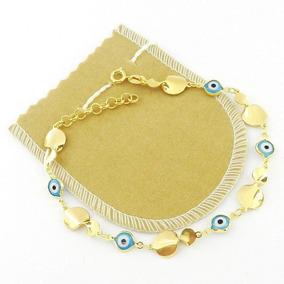Pulseira Feminina 16/19cm Olho Grego 7mm Folheado Ouro Pl391