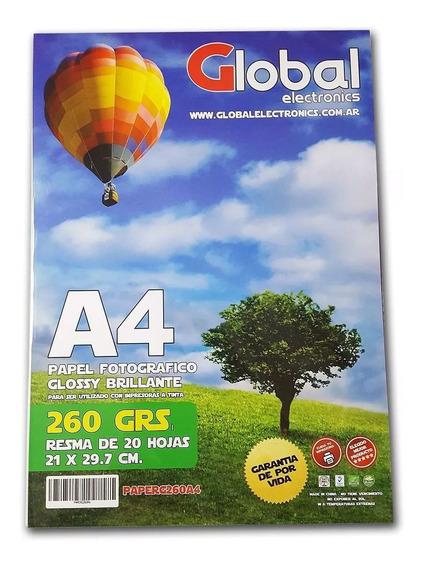Global Papel Fotografico Glossy 260g 20 Hojas