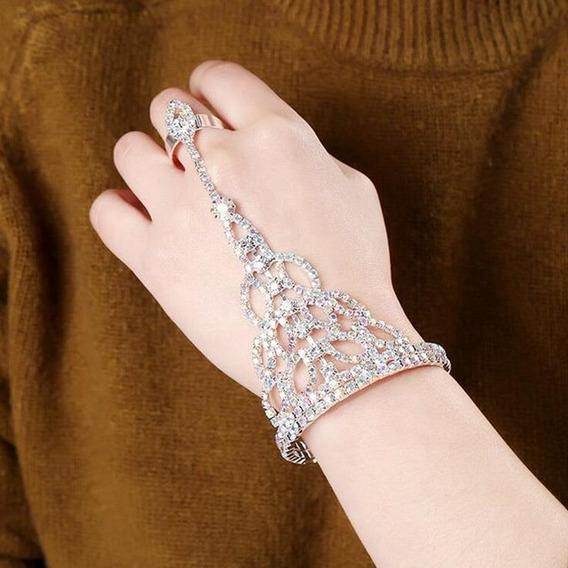 Pulseira Anel Bracelete Cristal Strass Noiva Luxo Coloridos