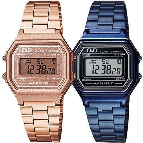 Reloj Retro Citizen Q&q Azul U Oro Rosa Sumergible 3m