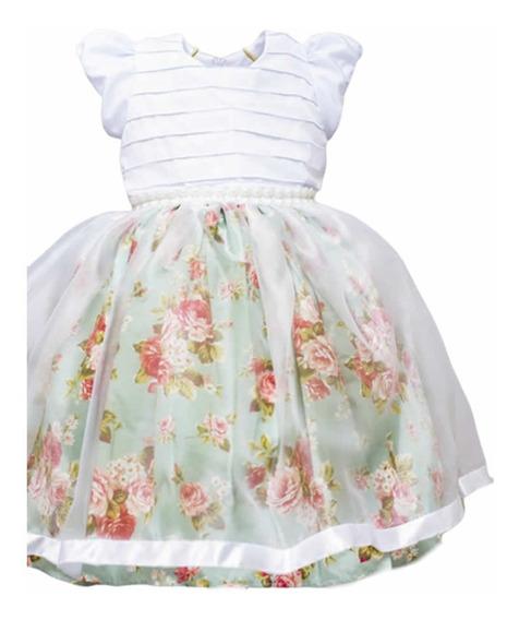 Vestido Festa Infantil Floral Daminha Luxo