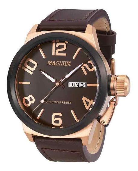 Relógio Magnum Masculino Pulseira Couro Marrom Ma33399z + Nf