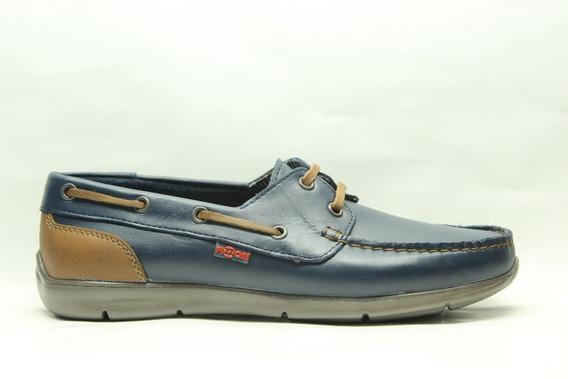 Zapatos Pizzoni 7328 Mocasines Nauticos De Cuero