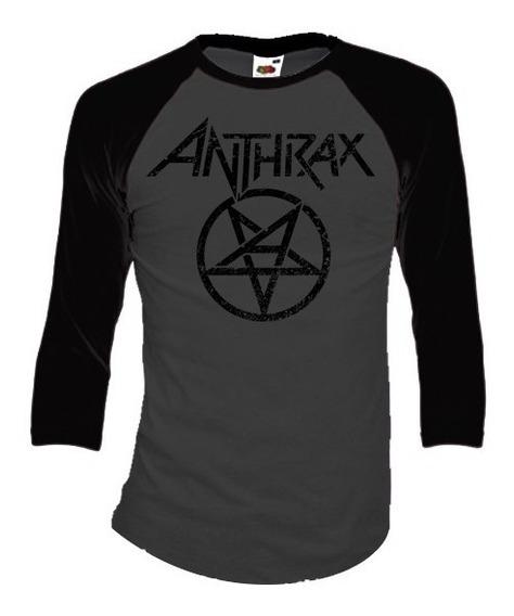 Anthrax Playeras Manga 3/4 Para Hombre Y Mujer