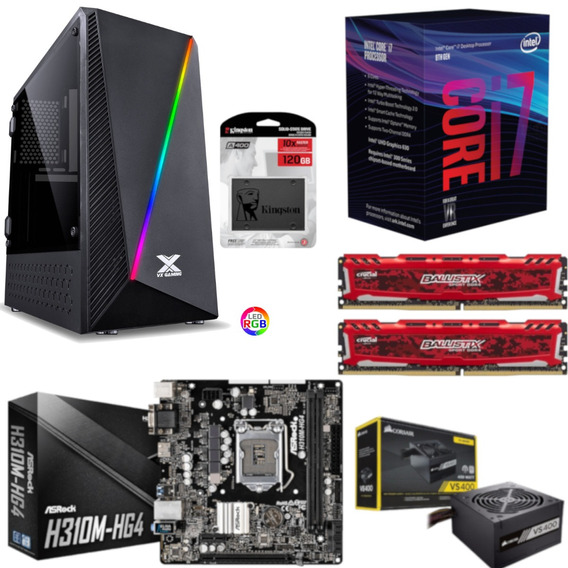Pc Pyxis Intel I7 8700 H310m Hg4 Bl 16gb Vs400 Ssd 120gb