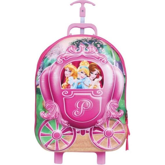 Mochila De Rodinhas Dermiwil G Princesas Poli 3d Rosa 51034