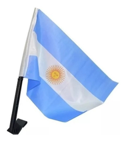 Bandera Argentina 30 X 45 Cm C Soporte Para Auto. La Aldea.