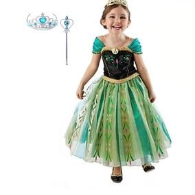 Vestido Fantasia Infantil Frozen Anna + Coroa E Varinha