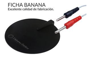 2 Electrodos De Goma Electroestimulacion Ficha Banana 10cm