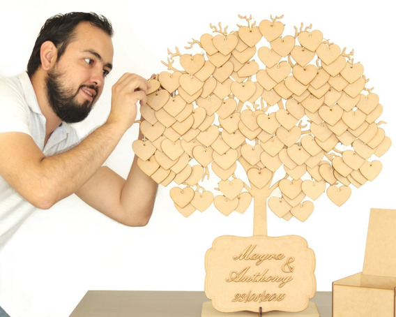 Grande Árbol De Firmas Con 150 Colgantes En Mdf Y Caja