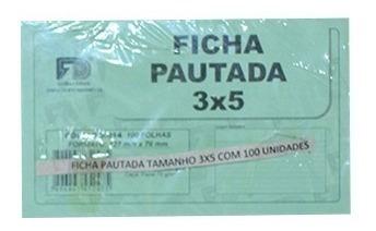 Ficha Pautada Tamanho 3x5 - Branco (pacote 100 Unid)