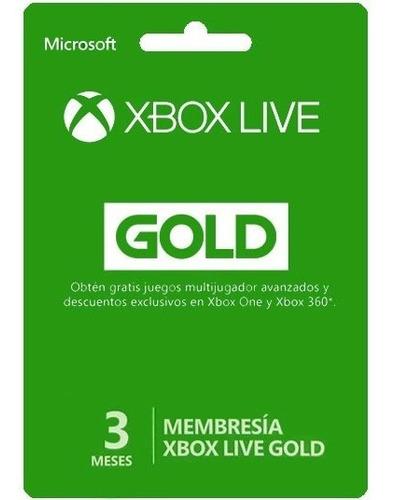 Xbox Live Gold Tres Meses Envio Inmediato Multi Region