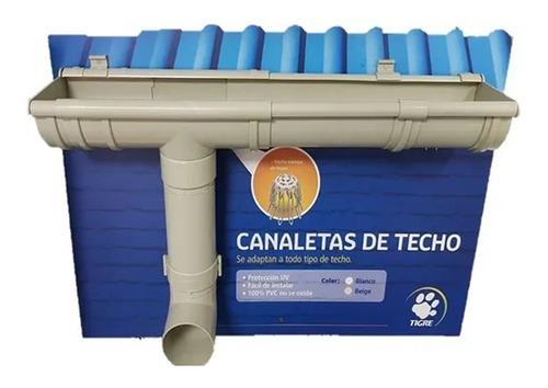 Canaleta Desague Pluvial Techo 3 Metros Tigre Blanca/beige