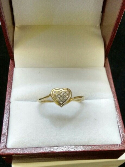 Anillo Oro Amarillo 10k Con Diamantes Corazon