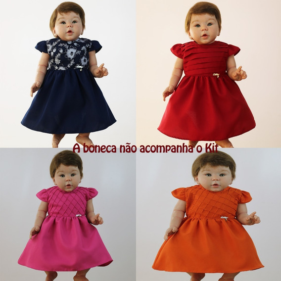 Roupas Para Boneca Bebê Reborn Kit Com 4 Vestidos De Boneca